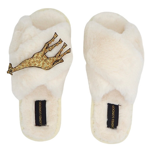 Cream Fluffy Slippers with Laines Luxe Giraffe Brooch