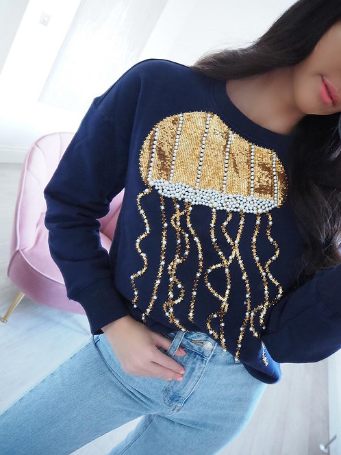 Navy Pearl & Gold Jellyfish Sweatshirt