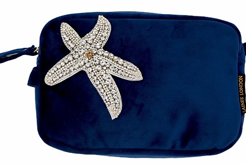 Laines London Navy Velvet Bag With Silver Starfish Brooch