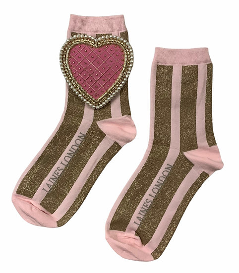 Pink & Gold Shimmer Stripe Socks With Deluxe Pink Quilted Heart Brooch