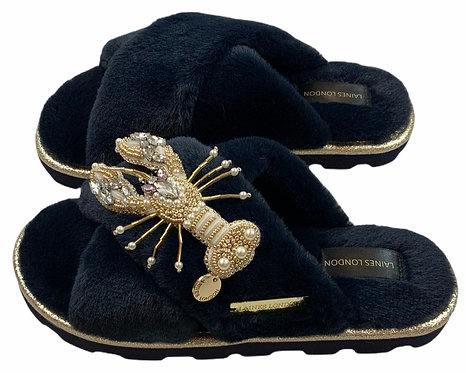 Ultralight Chic Slippers / Sliders With Artisan Pearl & Gold Lobster Brooch