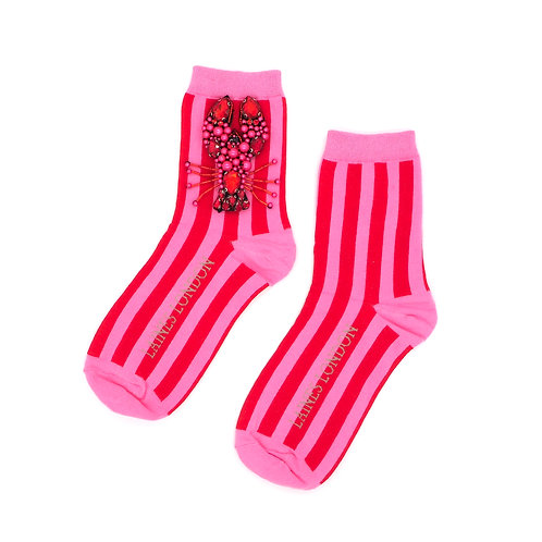 Red and Pink Stripe Cotton Socks With Beaded Lobster