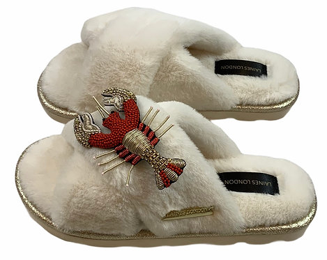 Ultralight Chic Slippers / Sliders Premium Deluxe Red & Gold Lobster