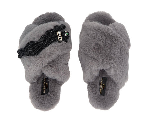 Laines Luxe Fluffy Grey Slippers With Crystal Jet Panther Brooch