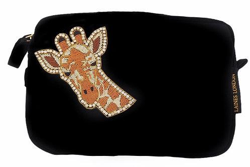 Laines London Luxe Black Velvet Bag With Deluxe Giraffe Brooch