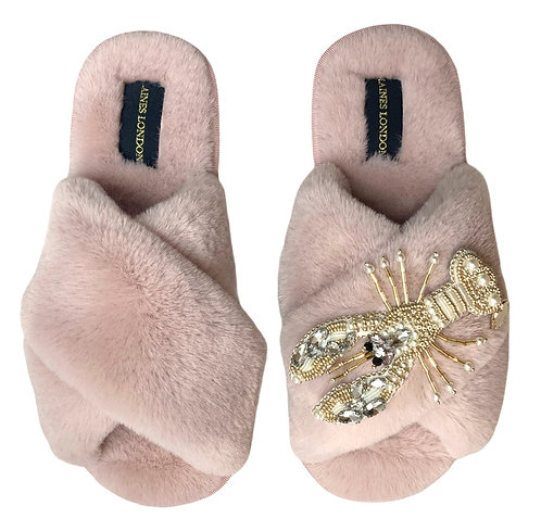 Pink Fluffy Slippers Pearl & Gold Lobster Brooch