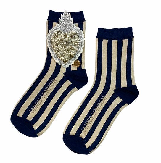 Navy & Cream Stripe Socks With Artisan Pearl Heart Brooch