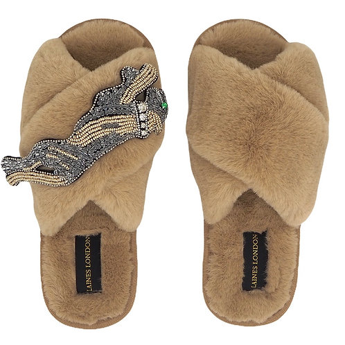 Caramel Fluffy Slippers with Platinum Panther