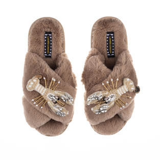 Artisan Double Pearl & Gold Lobster on Toffee Classic Slippers