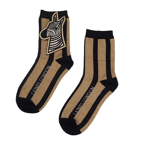 Black and Gold Shimmer Stripe Cotton Socks With Deluxe Zebra Brooch