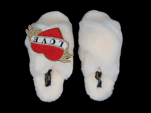 Laines Luxe Fluffy Cream Slippers With Deluxe Heart Tattoo Brooch