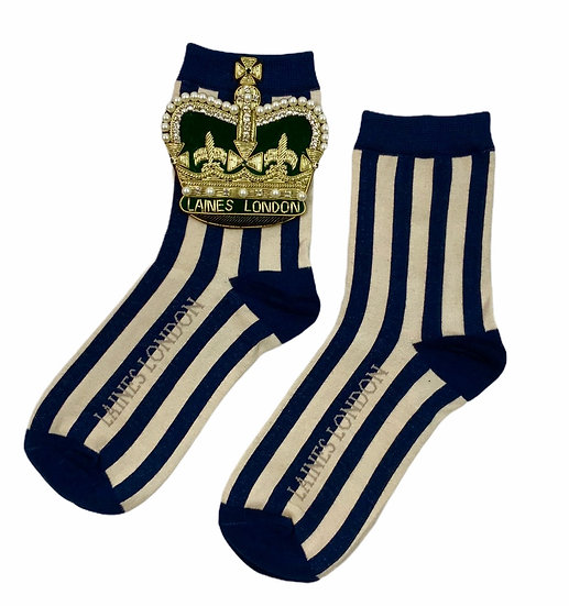 Navy & Cream Stripe Cotton Socks With Deluxe Artisan Crown Brooch