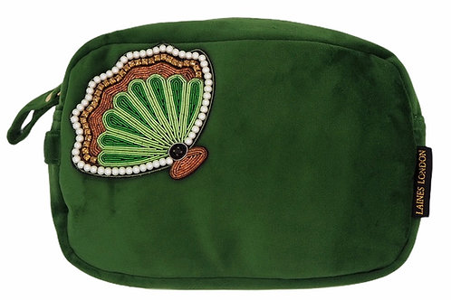 Laines London Luxe Green Velvet Bag With Deluxe Shell Brooch