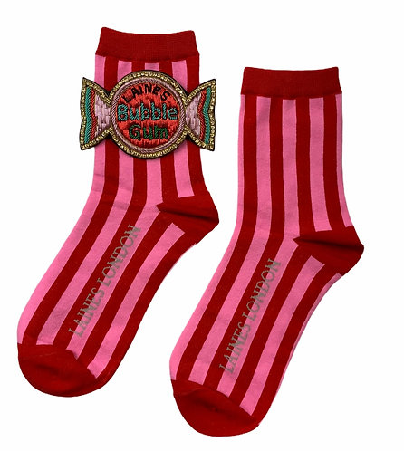 Red & Pink Stripe Cotton Socks With Deluxe Artisan Bubble-gum Brooch