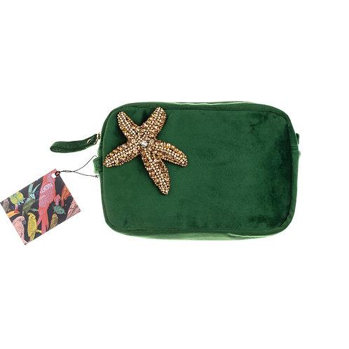 Green Velvet Bag With Golden Starfish Brooch
