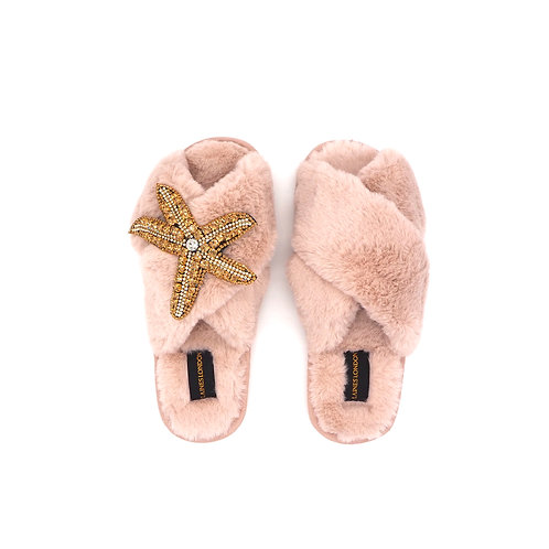 Pink Fluffy Slippers Starfish Brooch