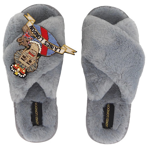 Grey Fluffy Slippers with LUXE Queen Brooch