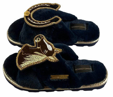 Ultralight Chic Slippers / Sliders with Deluxe Chestnut Horse & Horseshoe Brooch