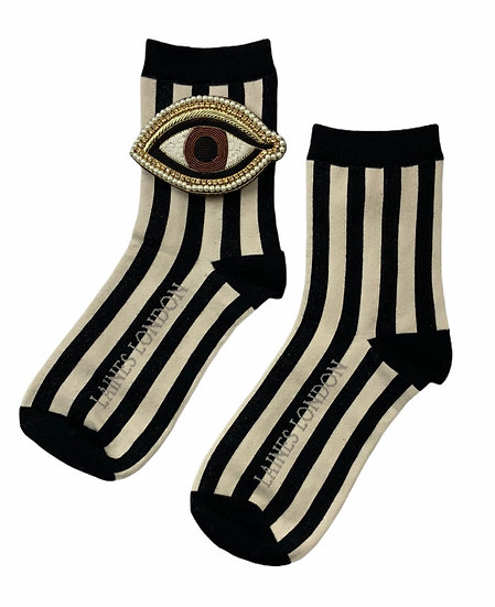 Black & Cream Stripe Cotton Socks With Artisan Brown Eye Brooch