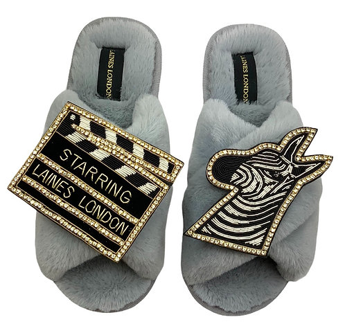 Laines Fluffy Grey Slippers With Double Zebra & Movie Board Brooch