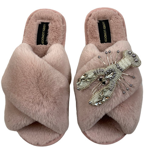 Pink Fluffy Slippers Pearl and Crystal Lobster Brooch