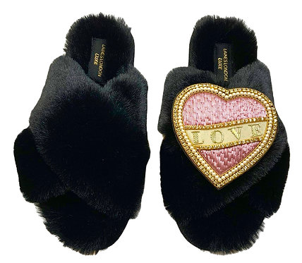 Laines Luxe Fluffy Black Slippers With Pink & Cream Love Brooch WIDE FIT