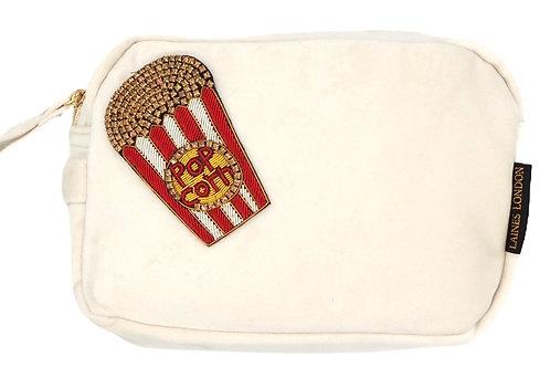 Laines London Luxe Cream Velvet Bag With Deluxe Popcorn Brooch