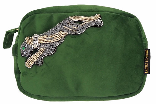 Laines London Green Velvet Bag With Platinum Panther Brooch
