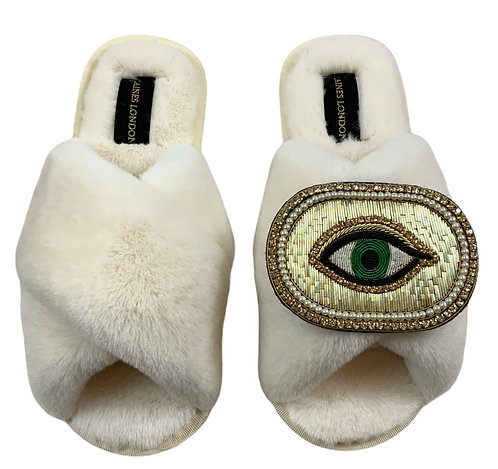 Cream Fluffy Slippers with Deluxe Golden Eye Brooch