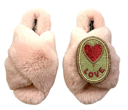 Laines Cloud Pink Slippers With Deluxe Love Balloon Brooch