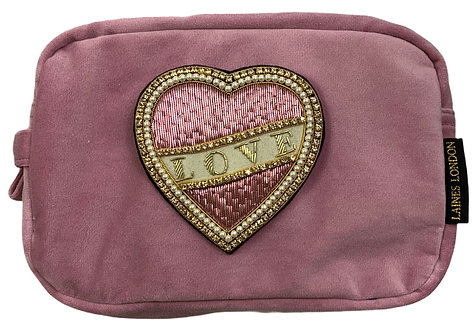 Laines London Luxe Pink Velvet Bag With Deluxe Cream Love  Brooch