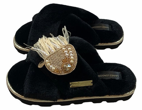 Ultralight Chic Slippers / Sliders With Artisan Pearl & Gold Jellyfish Brooch