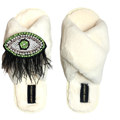 Cream Fluffy Slippers Crystal and Pearl Feather Eye Brooch