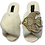 Thumbnail: Cream Fluffy Slippers with Deluxe Crystal and Pearl and Gold Angel Fish Brooch