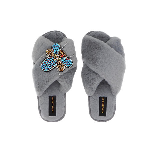 Grey Fluffy Slippers With Beaded Bug Brooch