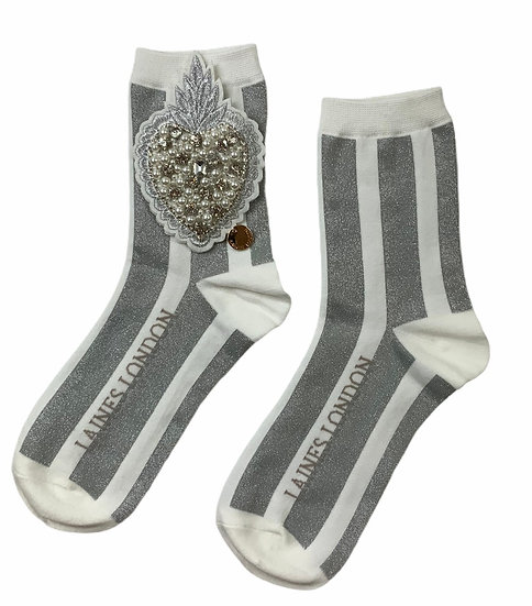 White & Silver Shimmer Stripe Cotton Socks With Artisan Pearl Heart Brooch
