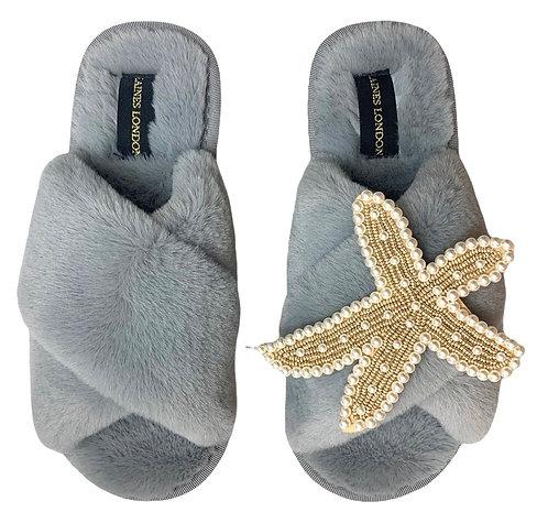 Grey Fluffy Slippers Pearl & Gold Starfish Brooch