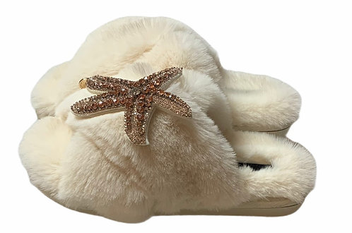 Laines Cloud Cream Slippers with Rose Gold Starfish