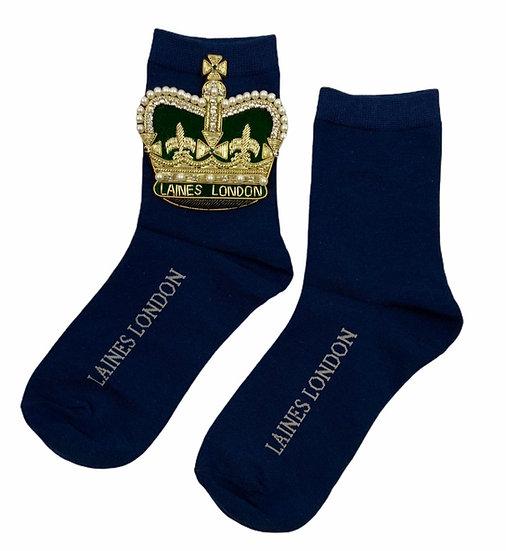 Navy Cotton Socks With Deluxe Artisan Crown Brooch