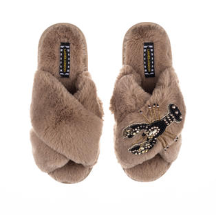 Artisan Black & Gold Lobster on Toffee Classic Slippers