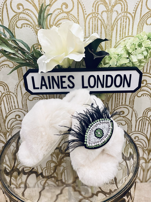 Laines Luxe Fluffy Cream Slippers With Feather Eyelash Brooch