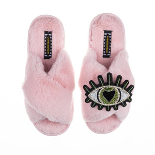 Deluxe Artisan Green Heart Eye on Classic Pink Slippers