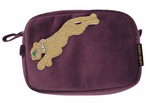 Aubergine Velvet Bag With Gold Panther Brooch