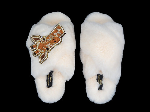 Laines Luxe Fluffy Cream Slippers With Deluxe Diamante Giraffe Brooch