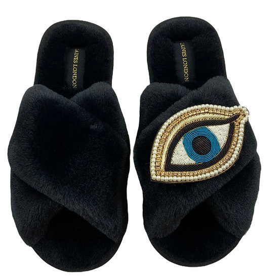 Classic Laines Slippers with Deluxe Blue Eye Brooch