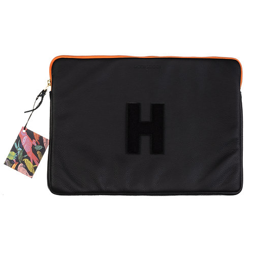 "Personalised Black Leather 15"" Pouch"