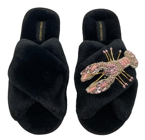 Black Fluffy Slippers Pearl Pink Lobster Brooch