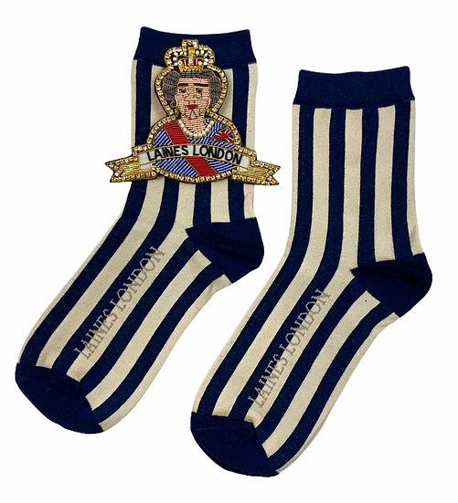 Navy & Cream Stripe Cotton Socks With Deluxe Artisan Queen Brooch