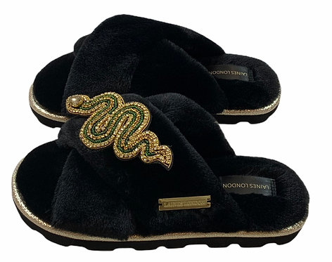 Ultralight Chic Slippers / Sliders With Artisan Green & Gold Snake Brooch