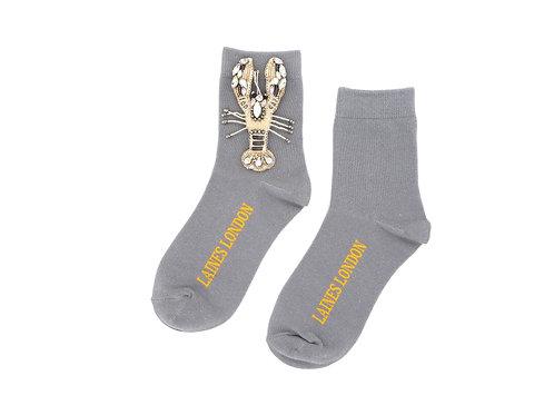 Grey Bamboo Socks With Crystal Lobster Brooch